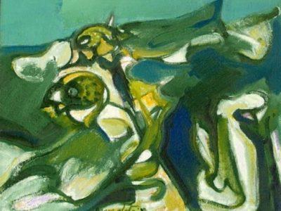 Girasoli su campo verde