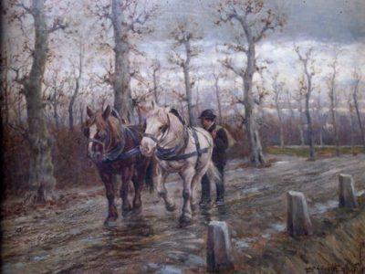 Ritorno dal lavoro (Cavalli da tiro – Giornata invernale)