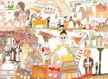 Carlo Zinelli, Figure sedute, figure con croci e uccelli tratteggiati, 1973. Tempera su carta, cm. 50 x 70. Già collezione Zinelli