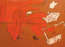 Mario Schifano, Incidente, 1963. Smalto, pastello e cera su cartoncino intelato, cm. 200 x 200. Collezione Casa di Cultura Goffredo Parise, Ponte di Piave.