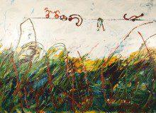 Mario Schifano, Bambino Pittore 1, 1985. Acrilico su tela, cm. 220 x 160. Collezione Casa di Cultura Goffredo Parise, Ponte di Piave.